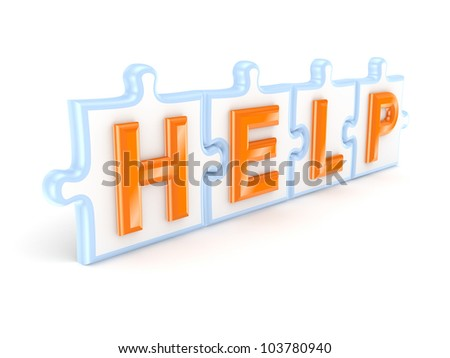 Help concept.Isolated on white background.3d rendered. - stock photo
