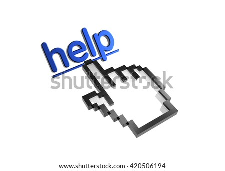 help. 3d rendered inscription. Link and finger, pointer. Isolated on white - stock photo