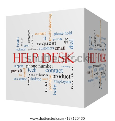 Help Desk 3D cube Word Cloud Concept with great terms such as customers, email, support and more. - stock photo