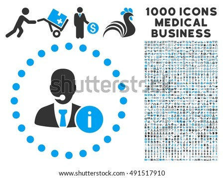 Help Desk icon with 1000 medical commerce gray and blue glyph pictograms. Collection style is flat bicolor symbols, white background.