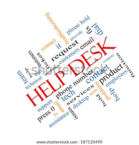 Help Desk Word Cloud Concept angled with great terms such as customers, email, support and more. - stock photo