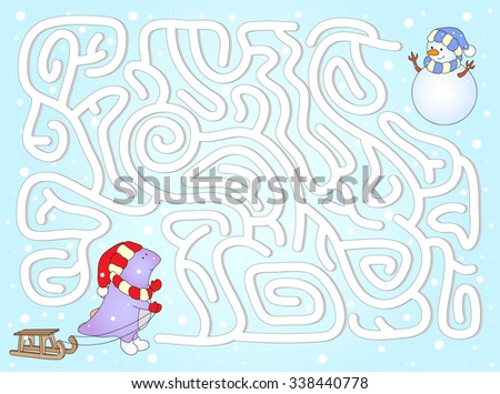 Help dinosaur to find way to his friend snowman in a winter maze. Educational game for children. illustration - stock photo