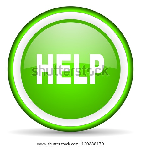 help green glossy icon on white background - stock photo