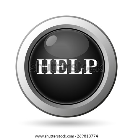 Help icon. Internet button on white background.  - stock photo