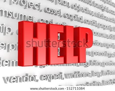 Help in word cloud - stock photo