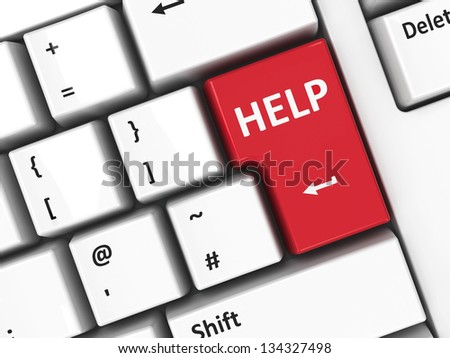 Help key on the computer keyboard, three-dimensional rendering - stock photo
