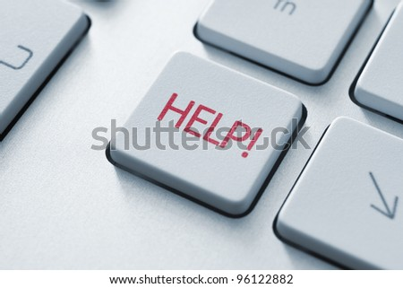 Help key on the keyboard. Toned Image. - stock photo