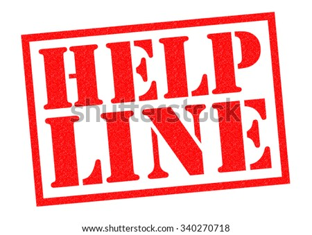 HELP LINE red Rubber Stamp over a white background. - stock photo