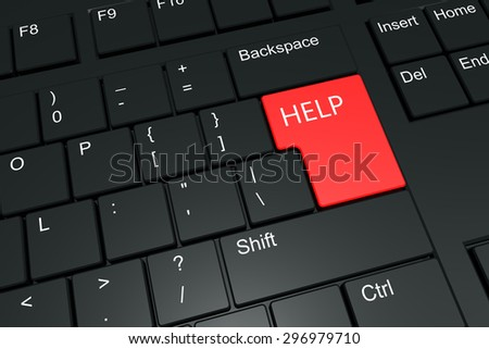 Help message on a keyboard - stock photo