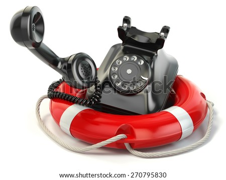 Help or support service concept. Telephone and life preserver isolated on white. 3d - stock photo