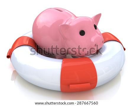 Help piggy bank  - stock photo