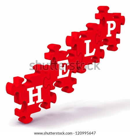 Help Puzzle Shows Support, Advisory And Assistance