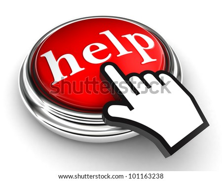 help red button and cursor hand on white background. clipping paths included - stock photo