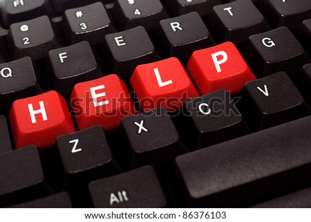 Help red button word on black keyboard - stock photo