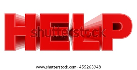 HELP red word on white background illustration 3D rendering - stock photo