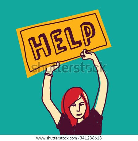 Help sos girl young woman color stress. Young unhappy girl with plate. Color  illustration.