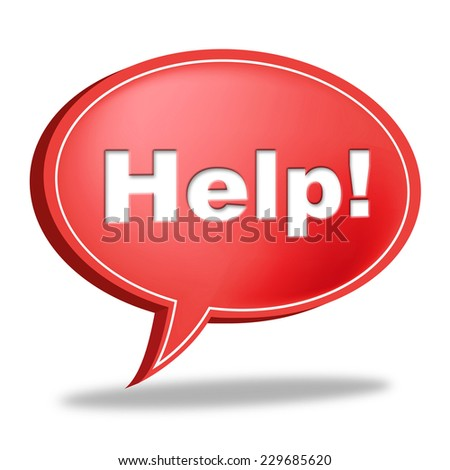 Help Speech Bubble Meaning Faq Information And Assisting - stock photo
