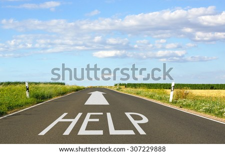 HELP - street with arrow and text - stock photo