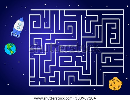 Help the rocket fly to the moon from our planet. Run your spacecraft through the labyrinth. Educational game for children. - stock photo