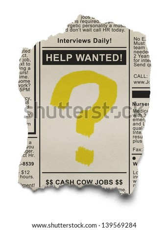 Help Wanted Job Search with Question Mark on torn Newspaper Ad Isolated on White Background. - stock photo
