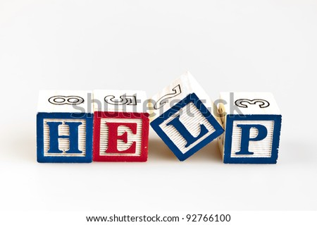 Help word made by letter blocks