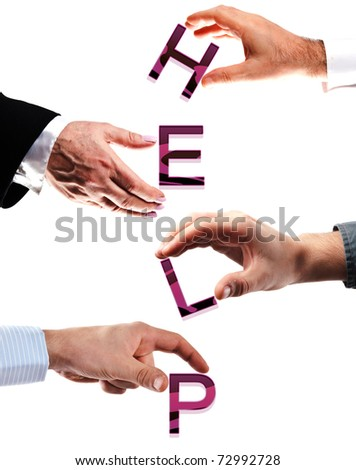 Help word made by many business people hands - stock photo