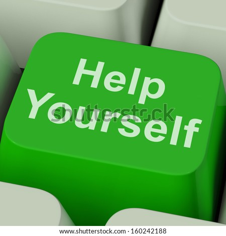 Help Yourself Key Showing Self Improvement Online