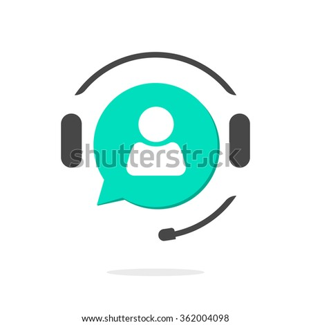 Helpdesk logo symbol, assistant operator phoning badge, hotline communication emblem, abstract headphones with bubble speech and agent user talking shape, flat icon modern design sign isolated - stock photo