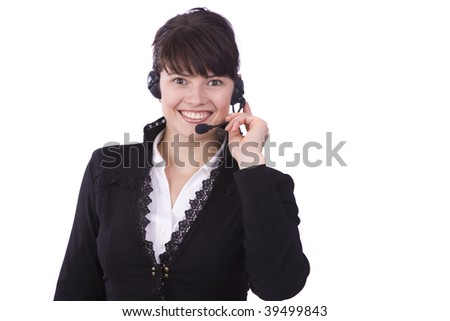 Helpdesk or support operator. Successful  businessman is speaking over the headset with a microphone.