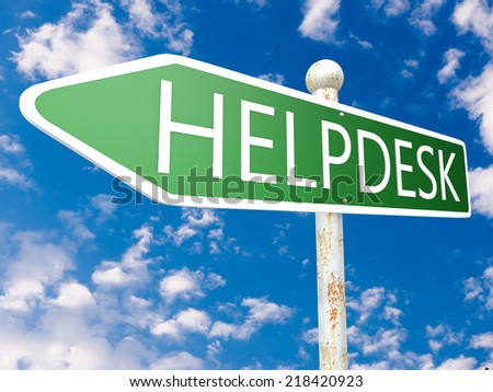 Helpdesk - street sign illustration in front of blue sky with clouds.