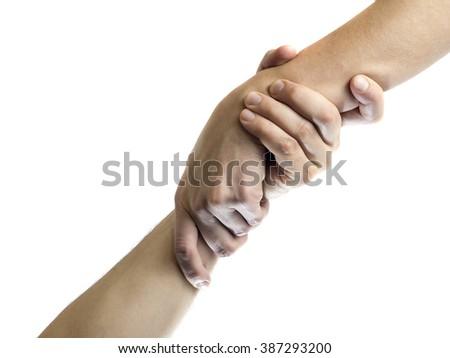 helping hand, isolated image - stock photo