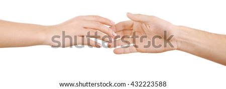 Helping hand isolated on white - stock photo