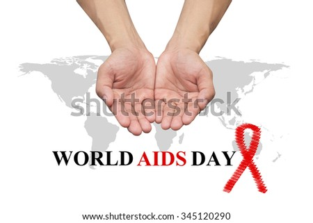 helping hands concept isolated over white background:symbolic of love,helping,healing :World Aids Day 1 December concept:Human immunodeficiency virus infection:acquired immune deficiency syndrome - stock photo