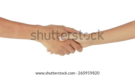Helping hands - handshake with love isolated on white