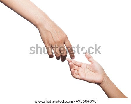 Helping hands isolated on white background