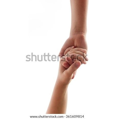 helping hands - two underage brothers or friends hold over white background - stock photo
