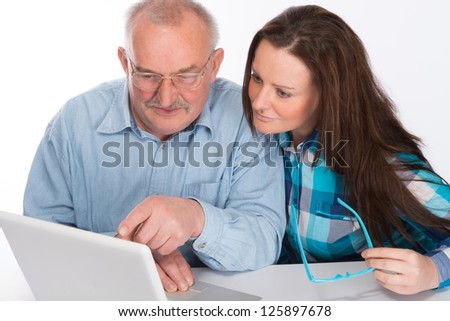 Helping with new computer - stock photo
