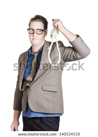 Helpless businessman holding rope with tied noose. Business struggle - stock photo