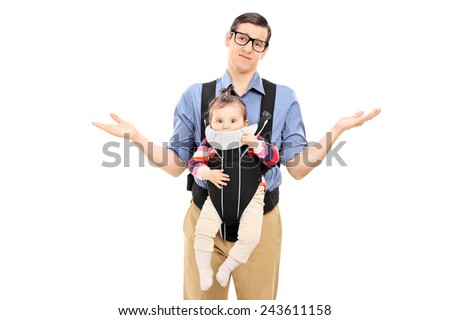 Helpless father carrying his baby daughter and gesturing with his hands isolated on white background - stock photo