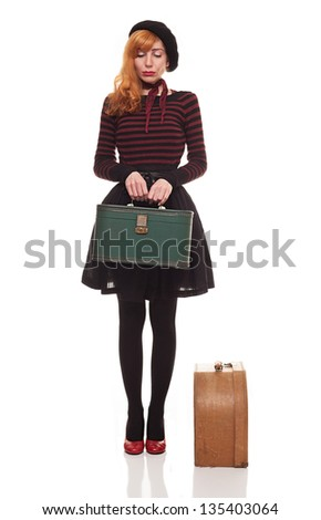 helpless sad young lady waiting her vehicle despairingly.isolated on white background - stock photo