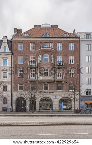 HELSINGBORG, SWEDEN - APRIL 25, 2016: The front facade of one of the many beautiful old historic buildings that Helsingborg in Sweden has to offer.
