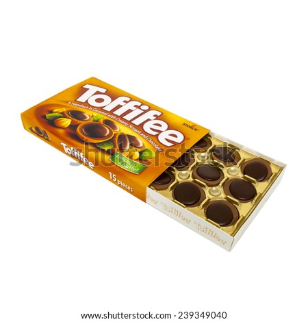 HELSINGBORG, SWEDEN - December 16, 2014:  Toffifee candies made by Storck. Toffifee was launched in 1973 by Storck. - stock photo