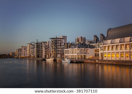 HELSINGBORG, SWEDEN - FEBRUARY 16, 2015: Dunkers Art Museum and the New marina. Modern architecture in Helsingborg city center.  - stock photo