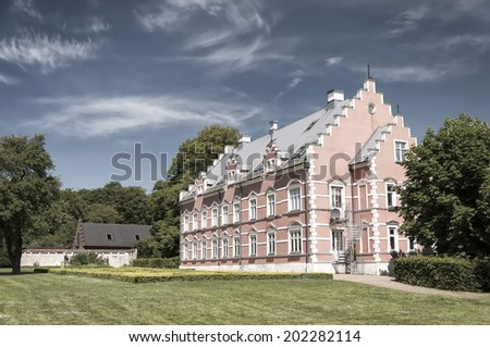 HELSINGBORG, SWEDEN - JUNE 10: View of old Palsjo Castle on June 10, 2014 in Helsingborg. Palsjo castle was constructed in the late 1670's and restored in 1873.