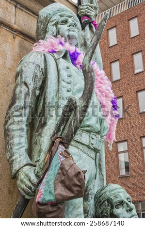 HELSINGBORG, SWEDEN - MARCH 7: Colourful decorations on the statues of Helsingborg to commemorate the swedish eurovision qualifiers taking place in the city. March 7, 2015. Helsingborg, Sweden.