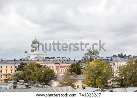 Helsinki cathedral and architecture of  old town market square