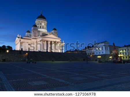 Helsinki cathedral is situated on a senate square in the Helsinki city centre. - stock photo