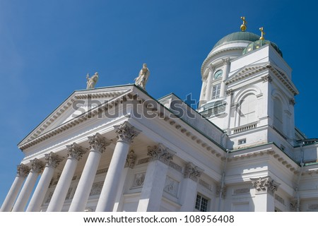 Helsinki cathedral on blue sky in summer, Finland