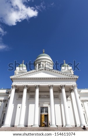 Helsinki Cathedral (Tuormiokirkko) the landmark in Helsinki or Helsingfors, the capital of Finland, Scandinavia (Northern Europe)