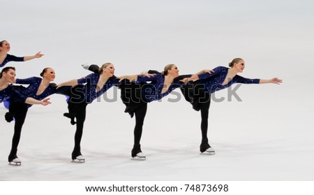 HELSINKI FINLAND - APRIL 8: Team Nexxice, of Canada, competes in the 2011 World Synchronized Skating Championships 2011 on April 8, 2011 in Helsinki, Finland.